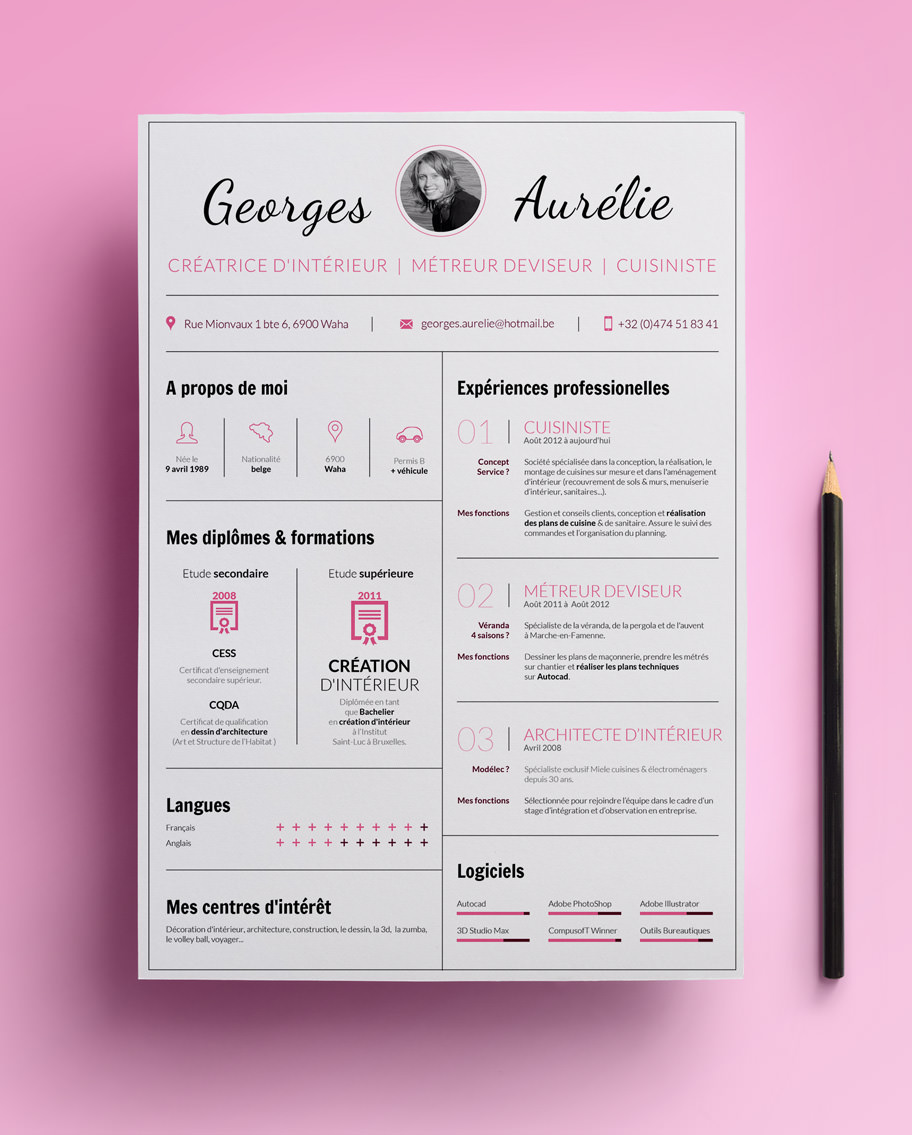 cr u00e9ation du curriculum vitae pour georges aur u00e9lie une